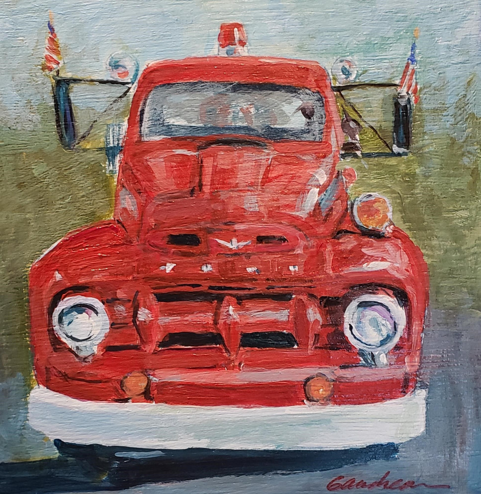 Painting Big Red#20   8x8 oil by Michael Gaudreau