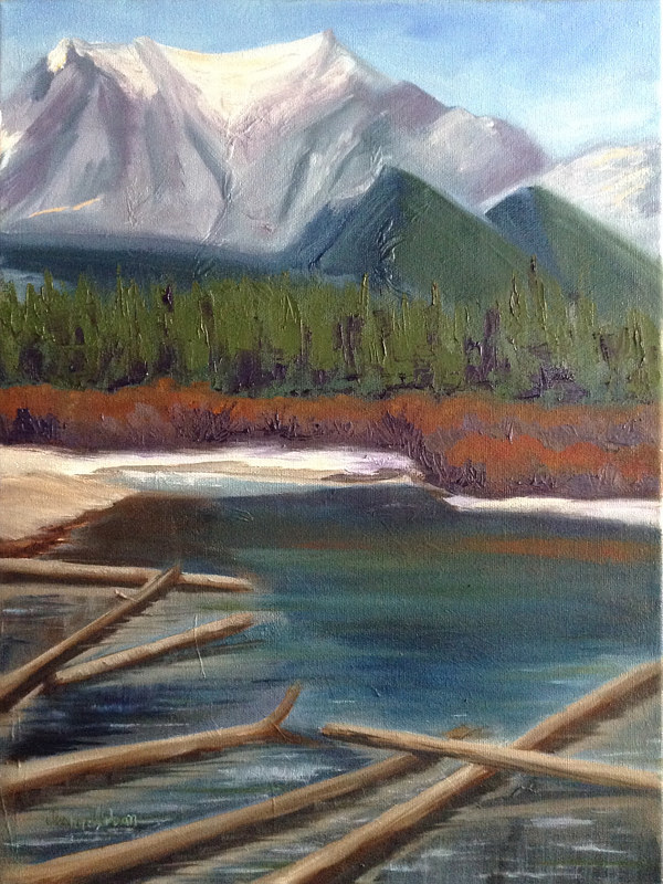 Oil painting Kananaskis Spring II by Jeanne Urban by Passionate Painters