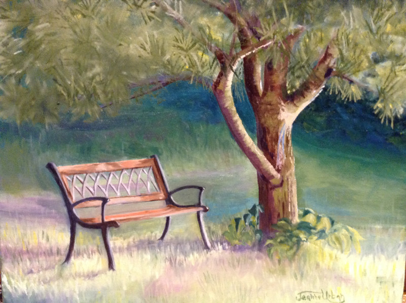 Oil painting Carl's Bench by Passionate Painters