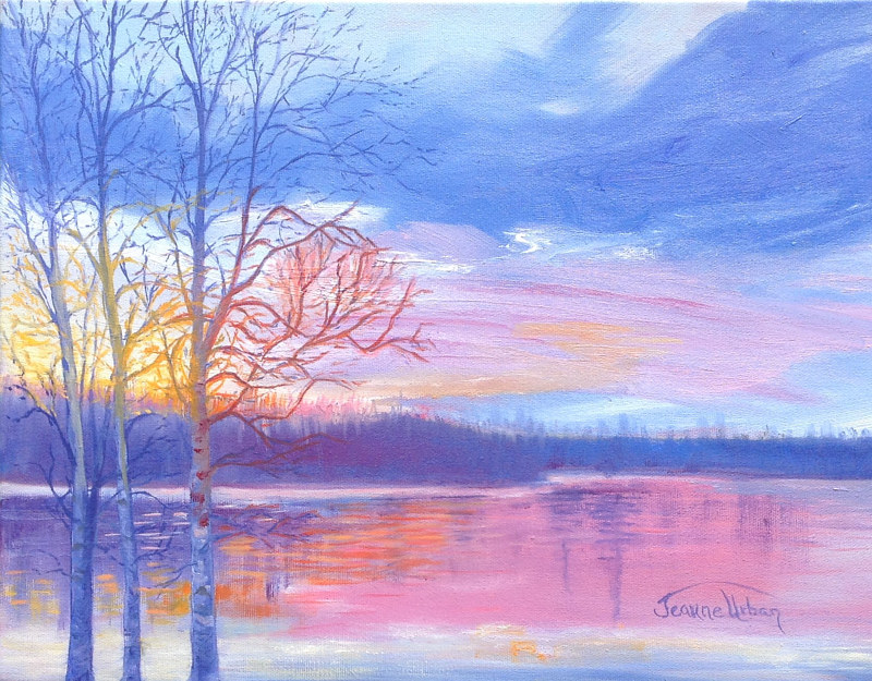 Oil painting Opishing Sunset III by Jeanne Urban by Passionate Painters