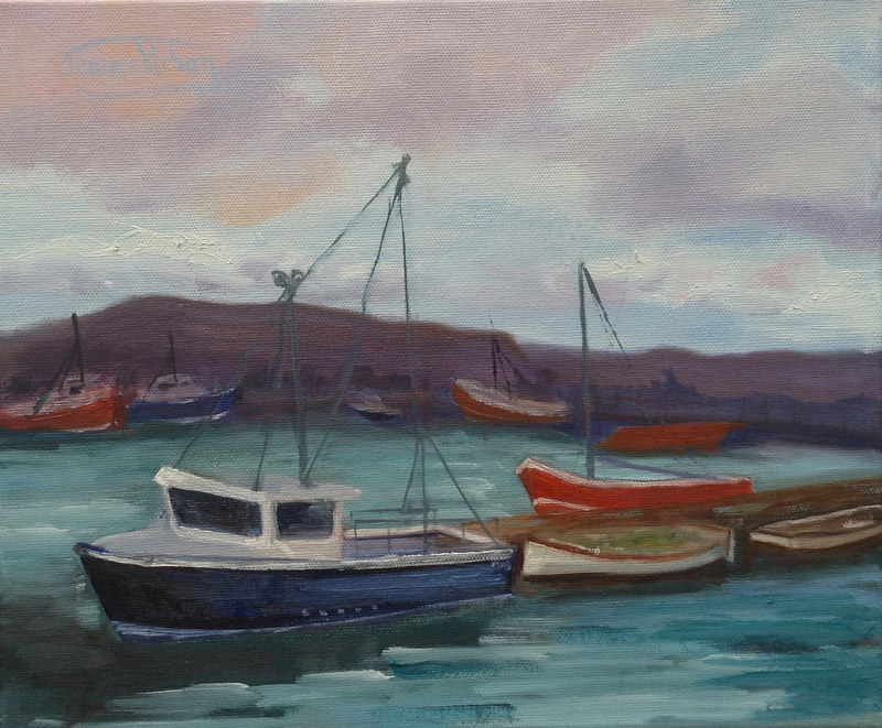 Oil painting Irish Fishing Boats by Jeanne Urban by Passionate Painters