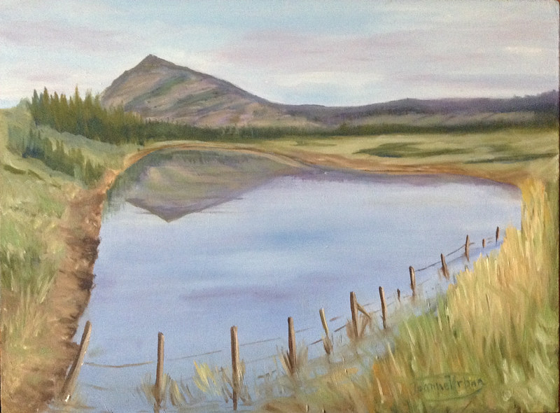 Oil painting Ranch Pond by Jeanne Urban by Passionate Painters