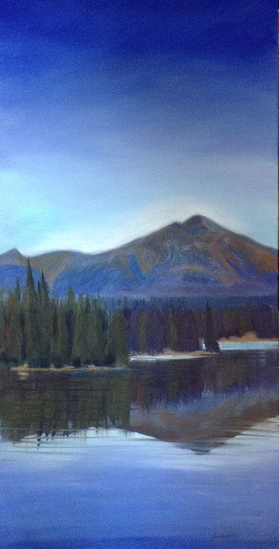 Oil painting Pyramid Mountain by Jeanne Urban by Passionate Painters