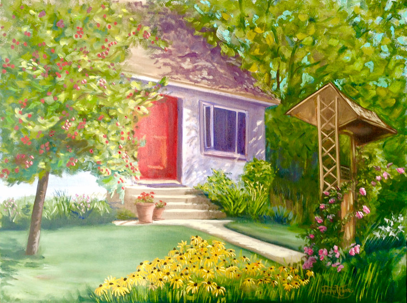 Oil painting The Red Door by Jeanne Urban by Passionate Painters