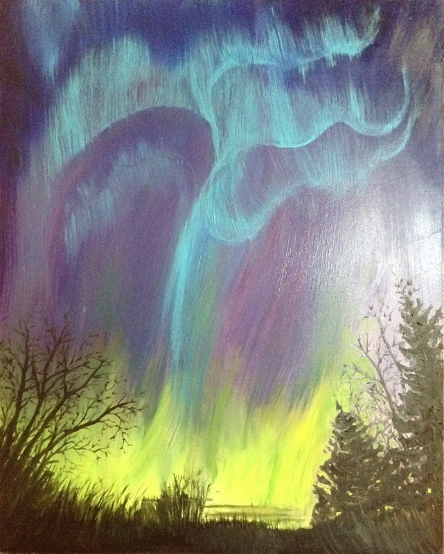 Oil painting Northern Lights by Jeanne Urban by Passionate Painters