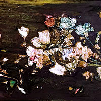 Mixed-media artwork Broken Bouquet by Eveline Wallace