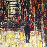 Acrylic painting Street Life No. 1 by David Tycho