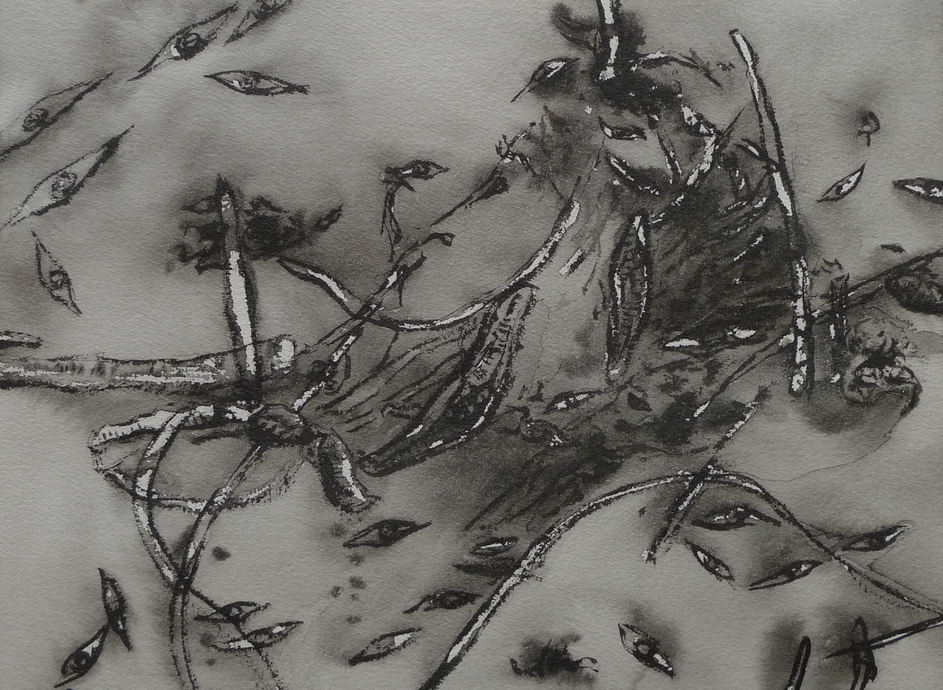 Drawing Study in Brush and Ink 15 by Pamela  Speight