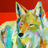 "Acrylic painting ""Coyote Sunset"" by Jennifer Sparacino"
