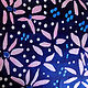 Painting Light pink Thin Petaled Flowers with Arabian Blue and White Scattered Dots on Ink Blue Ground  by Michael Shyka