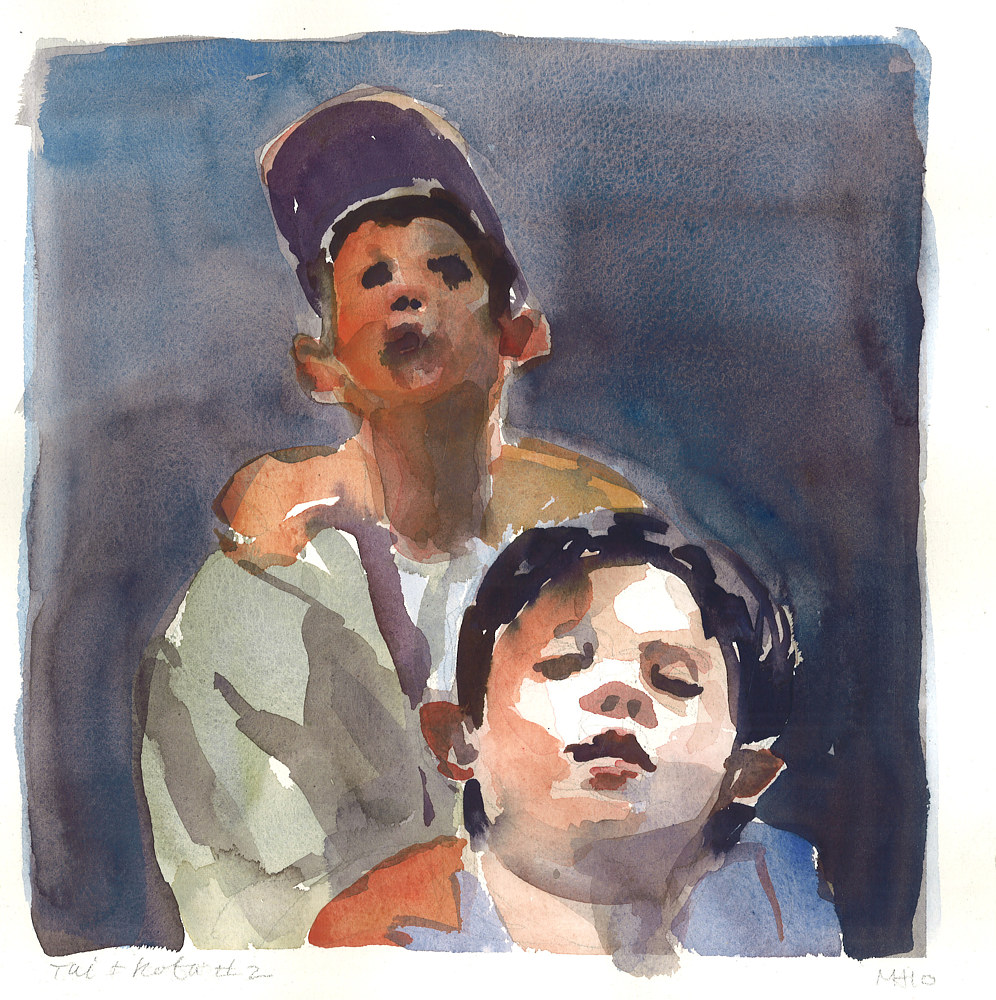 Watercolor Tai and Kota #2 by Mary Hayes