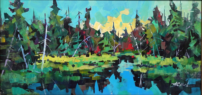 Black Reflections  Acylic 12x24  2020 by Brian  Buckrell