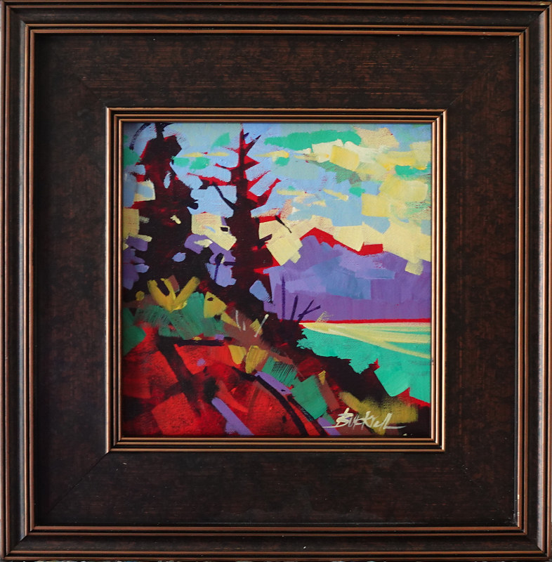 Red Rock Acrylic 8x8 2020    frame 13x13 by Brian  Buckrell