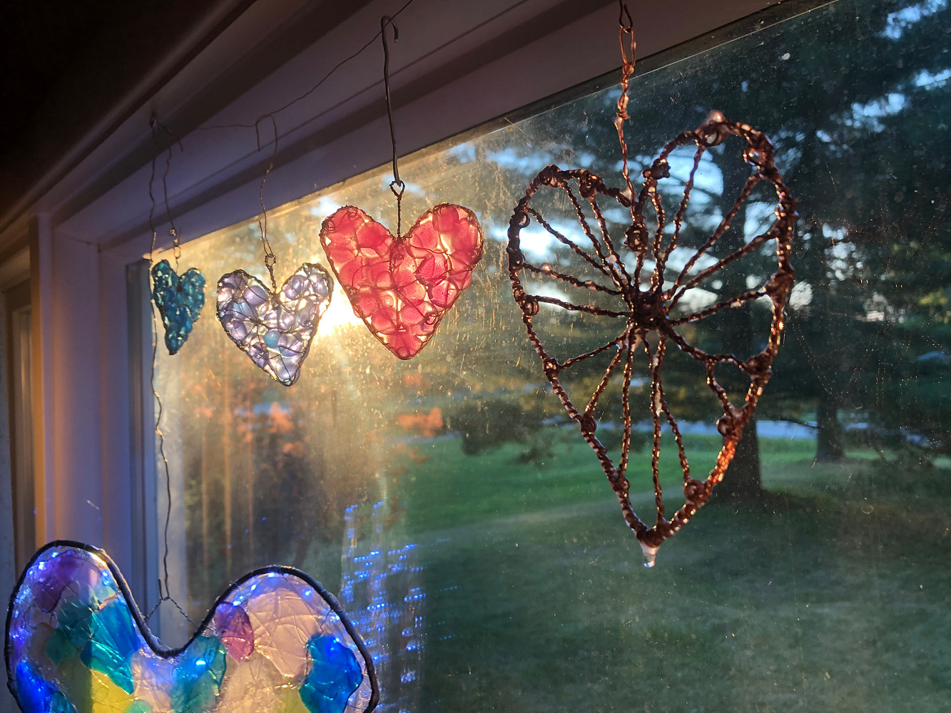 Front Window Hearts at sunset by Steven Simmons