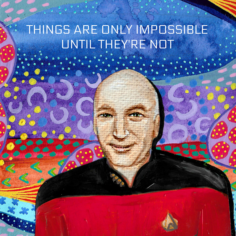 Oil painting Captain Picard by Amber N Petersen