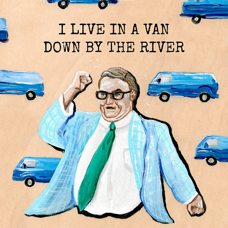 Oil painting Van Down by the River by Amber N Petersen