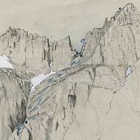 Drawing Buttress Route by Amie Rangel