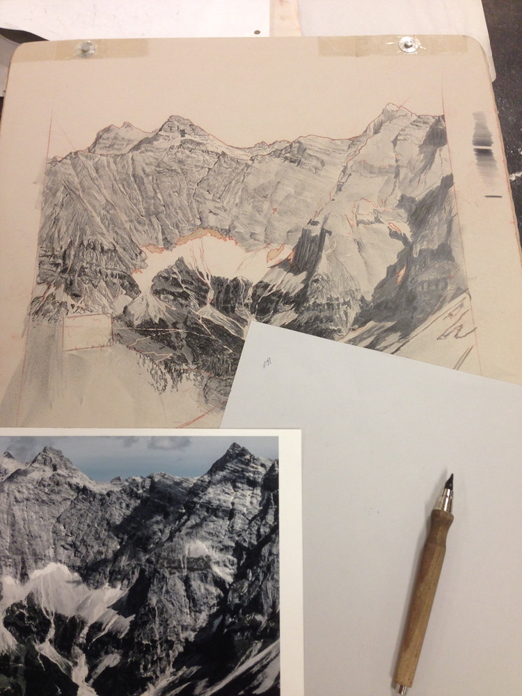 Layout drawing on lithographic stone by Amie Rangel