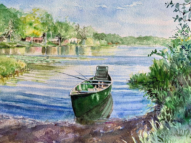 Watercolor Ball Pond Boat Launch watercolor by Elizabeth4361 Medeiros