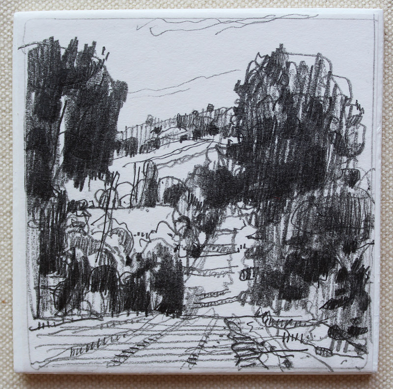 Drawing Evening Roadside by Harry Stooshinoff