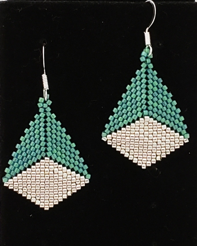 Green and silver beaded earrings by Vicki Allesia