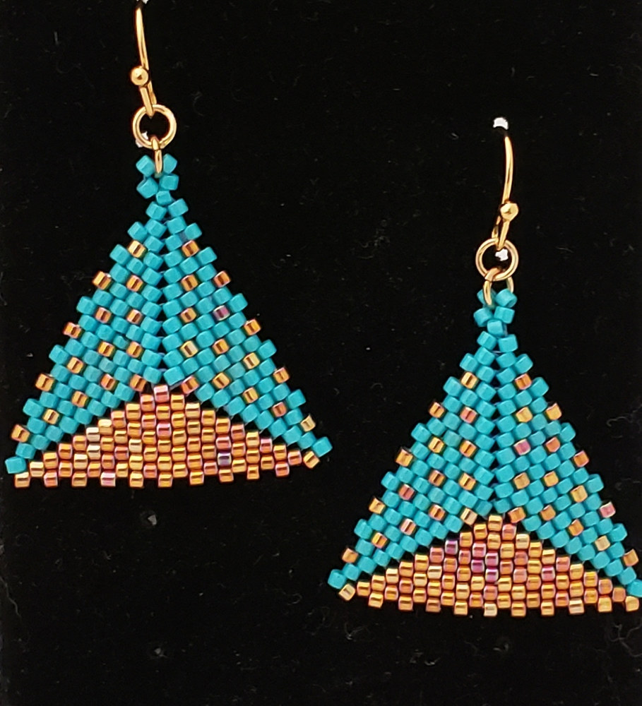 Turquoise and gold beaded earrings by Vicki Allesia