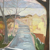 Pastel Road to River Oil Sketch by Edward Miller