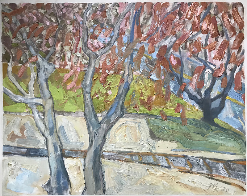Laura's Yard Oil Sketch by Edward Miller
