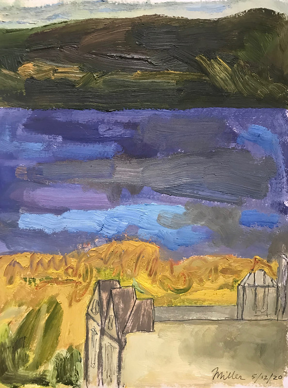 Purple River with Church Oil Sketch by Edward Miller
