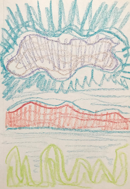 Agitated Cloud Crayon Sketch by Edward Miller
