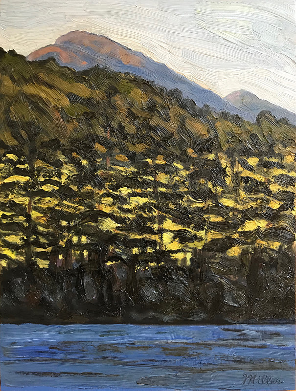 Haystack from Upper Lake 12x9 by Edward Miller