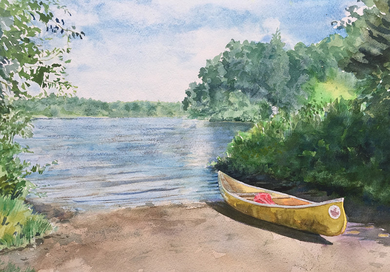 Watercolor Yellow canoe at Ball Pond by Elizabeth4361 Medeiros