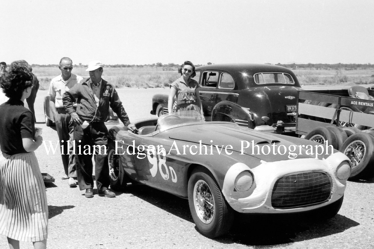 Photography [RV-PAFTM] John Edgar's Ferrari 275/340 America - Ernie McAfee - Jack McAfee's wife Pat McAfee - Phoenix Raceway - May 3, 1953 by William Edgar
