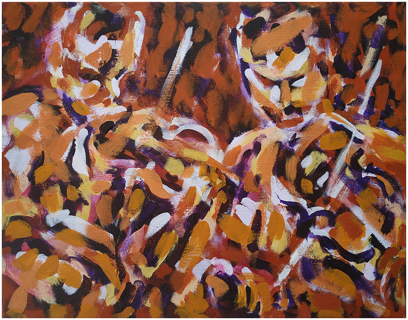 Acrylic painting Two fiddlers by Tom O'rourke