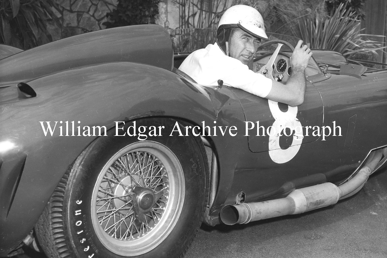 Photography [CS-M6PE7] Carroll Shelby in John Edgar's Maserati 450S, at John Edgar's house - Encino, California - August 1957 by William Edgar