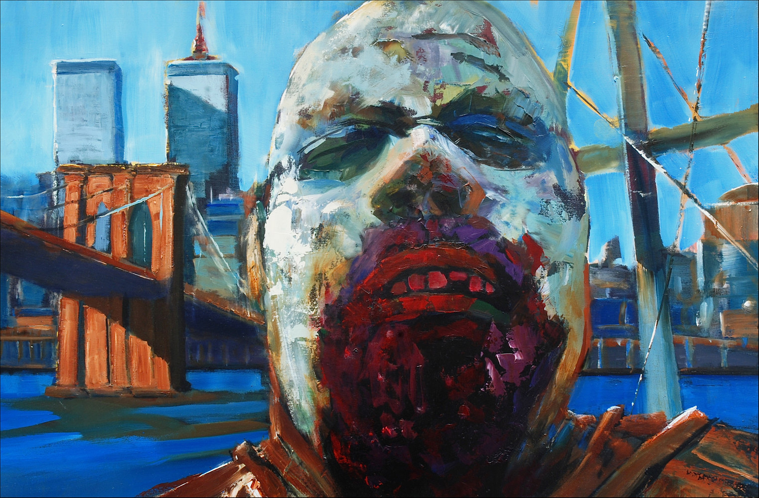 Oil painting Zombi on Board by Angelo Mariano