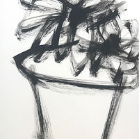 Acrylic painting Potted: Black and White #2 by Sarah Trundle