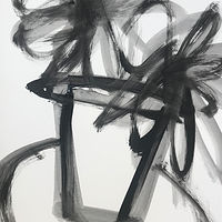 Acrylic painting Potted: Black and White #1 by Sarah Trundle