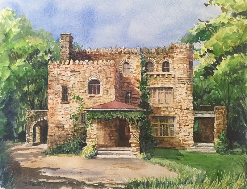 Watercolor Hearthstone Castle, Tarrywile Park, Danbury CT. by Elizabeth4361 Medeiros