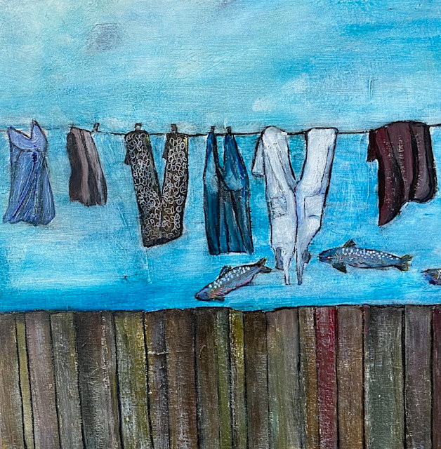 Acrylic painting Behind The Fence by carol Ross
