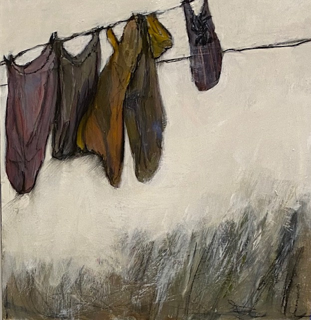 "Acrylic painting ""Laundry Line in January"" Available by carol Ross"