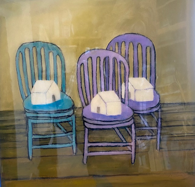 "Acrylic painting ""Three Chairs in Isolation"" Available For Purchase through Red Sky Gallery, Seattle, WA by carol Ross"