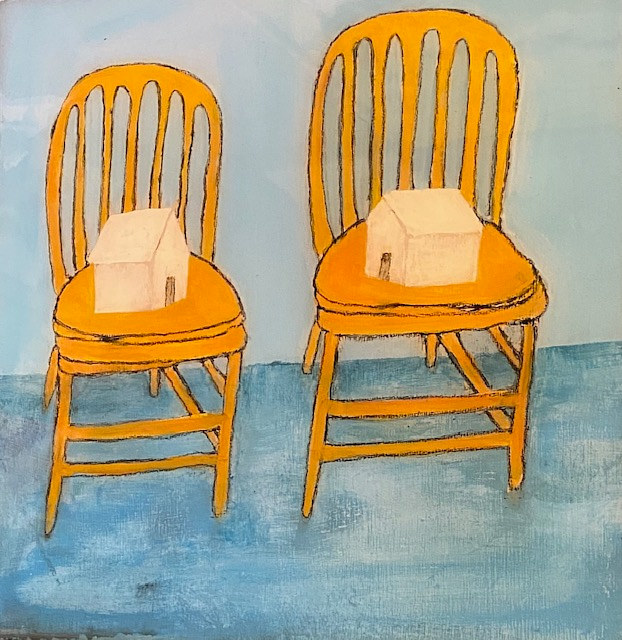 "Acrylic painting ""Two Chairs in Isolation"" Available For Purchase through Red Sky Gallery, Seattle, WA by carol Ross"