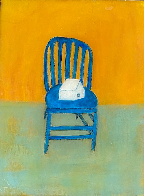 "Acrylic painting ""One Chair in Isolation"" Available For Purchase through Red Sky Gallery, Seattle, WA by carol Ross"