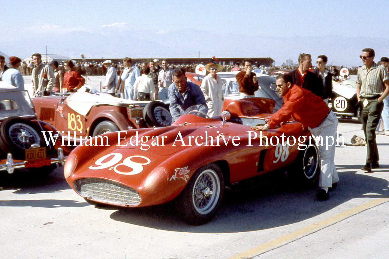 Photography [RV-PDPF6] Palm Springs Airport sports car races - John Edgar's Ferrari 857S - Palm Springs, California - February 26, 1956 by William Edgar