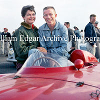 Photography [RG-HHGO7] Richie Ginther and Jackie Holter, with John von Neumanns Ferrari 500TR - Hourglass Field - San Diego, California - October 20, 1957 by William Edgar