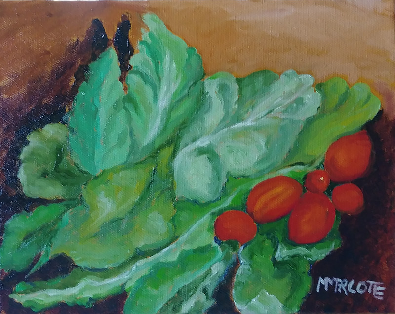 Oil painting I picked a sun-warmed dinner from my daughter's garden by Michelle Marcotte
