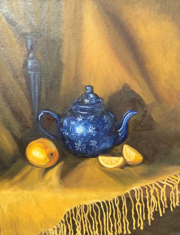 Oil painting Tea with Lemon by Jeanne Urban by Passionate Painters