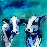 "Acrylic painting ""2 Sisters"" Available for purchase through Fogue Gallery, Seattle WA by carol Ross"