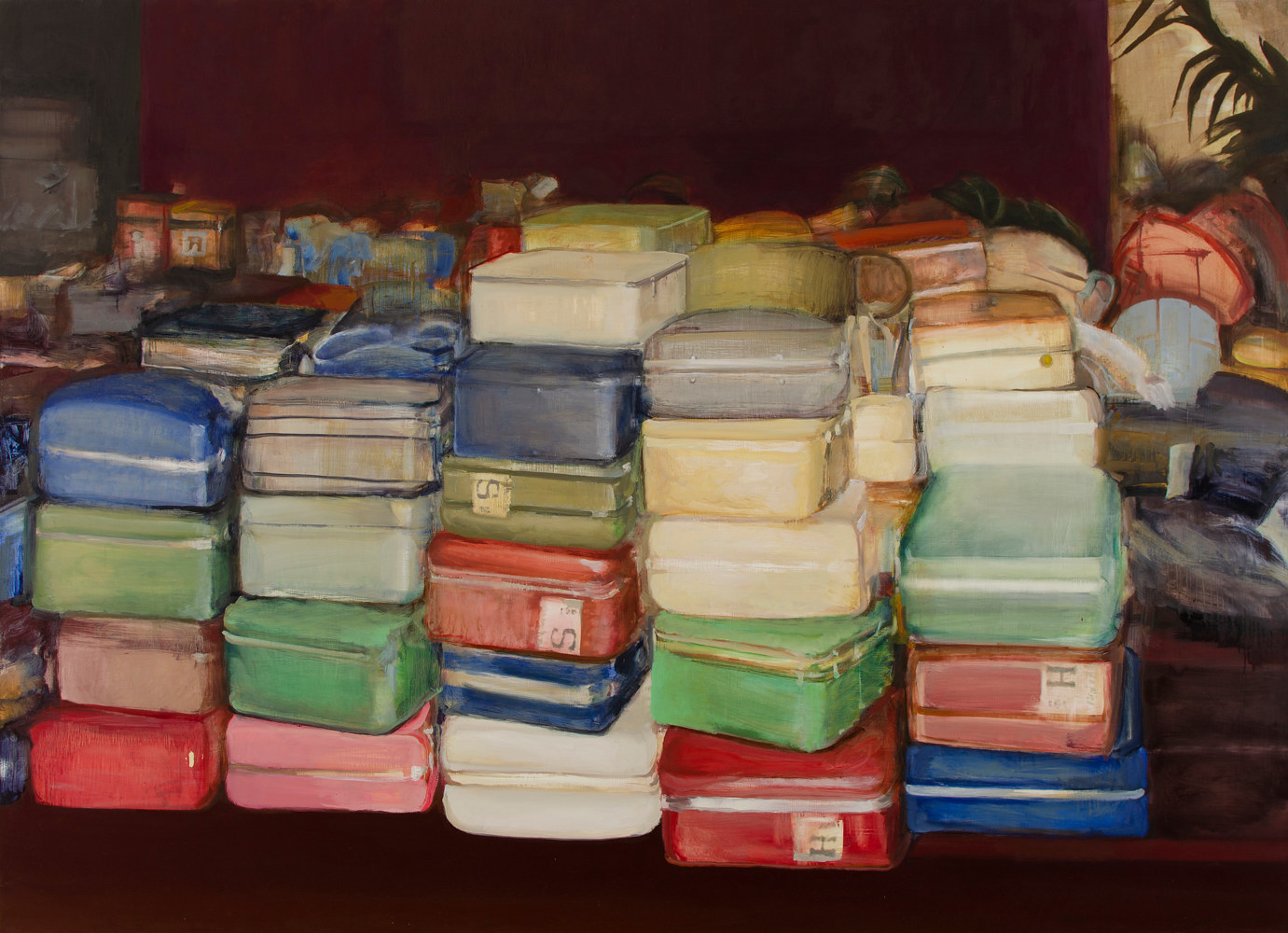 Oil painting Suitcases by Serena Stevens